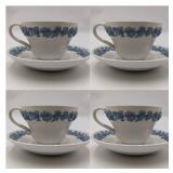 1940s Wedgwood Embossed Queensware Bone China Cups and Saucers Set of Four ($300 Value)