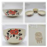 Rare 1930s Hall Red Poppy Bowls-Set of 3
