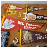 Vintage Pennants, Girls Scout Sash with patches, Jesse Ventura doll
