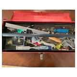 Red Metal Tool Box w/ Contents