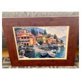 """Framed Howard Behring """"Lake Como Landing"""" Print"""