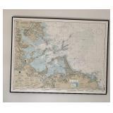 Large Framed Map of Boston Harbor