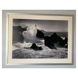 Large Framed Black and White Waves Photograph