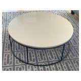 Room and Board Tyne Cocktail Table in Natural Steel with Beige Quart Composite Top