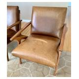 Pair of Crate & Barrel Cavett Leather Chairs