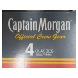 NEW CAPTAIN MORGAN GLASSES SET IN ORIGINAL BOX AND SMALL METAL/GOLD RACK
