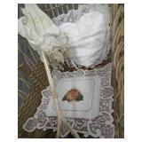 ANTIQUE BABY CARRIGE, UNBRELLA, BABYDOLL WITH STUNNING DRESS,  PILLOWS AND A BEAUTIFUL CROCHETED FLORAL PIECE