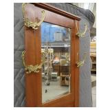 STUNNING SOLID OAK VINTAGE/VICTORIAN HALL TREE WITH MIRROR AND SEAT FOR STORAGE GOLD ACCENT HANGERS