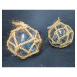 2 HANDBLOWN GLASS JAPANESE BOATS/FLOATS WITH TWINE AROUND THEM