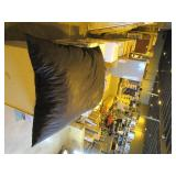 Lounge & Co Crash Foam Pillow Bean Bag Lounger With Gray Faux Fur Washable Cover (out of Box)