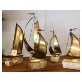Lot of 5 Vintage Mid Century Signed Brass Sailboat Sculptures on Stone/Onyx Bases