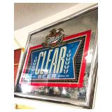 Large Miller CLEAR BEER Mirrored Bar Sign