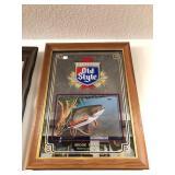 Vintage OLD STYLE Beer Brook Trout Bar Mirror
