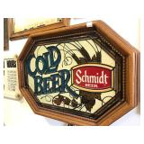 Excellent Vintage SCHMIDT Cold Beer Stained Glass Style Beer Sign