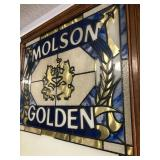 Vintage MOLSON GOLDEN Stained Glass Style Beer Sign