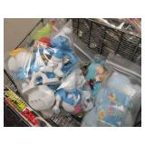 Metal Wire Display Rack w/Assorted Collectibles - Smurfs etc