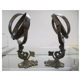 Pair of Antique Brass Dolphin / Koi Fish Armillary Spheres