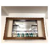 Mid Century Shadowbox Wall Shelf w/Old Insulators