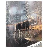 Framed Signed & Numbered KEN ZYLLA Wildlife Print w/Moose - Edge of Winter