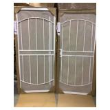 Lot of 2 72 in. x 80 in. Arcada White Surface Mount Outswing Steel Double Security Door with Expanded Metal Screen by Unique Home Designs Customer Returns See Pictures