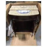 Terryn 31 in. W x 35 in. H x 20 in. D Vanity in Cherry with Granite Vanity Top in Beige with White Basin by Home Decorators Collection Customer Returns See Pictures