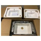 Lot of 3 Arvesen 18 in. W x 12 in. D Vanity in Dove Grey with Ceramic Vanity Top in White with White Sink by Home Decorators Collection Customer Returns See Pictures