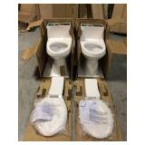 Lot of 2 Colony 1-Piece 1.28 GPF Single Flush Elongated Toilet in White Seat Included by American Standard Customer Returns See Pictures