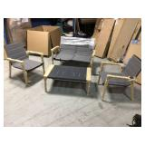 5-Piece Aluminum Modern Outdoor Dining Set with Rectangular Coffee Table by CASAINC Customer Returns See Pictures