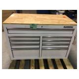 46 in. W x 24.5 in. D 9-Drawer Gloss White Deep Tool Chest Mobile Workbench with Hardwood Top by Husky Customer Returns See Pictures