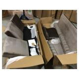 Noble House Bowue 84 in. Dark Taupe Solid Velvet 3-Seat Chesterfeild Sofa with Nailhead Customer Returns See Pictures