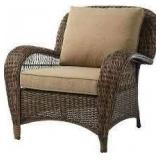Beacon Park Brown Wicker Outdoor Patio Swivel Lounge Chair with Toffee Trellis Tan Cushions by Hampton Bay Customer Returns See Pictures
