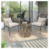 3-Piece Outdoor Tan Wicker Conversation Set with Vanilla White Cushions by TK CLASSICS Customer Returns See Pictures