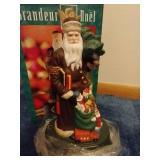 Two Santa of the World Figurines & Santa Plate