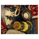 Tote of Misc. Christmas Ornaments & Decor