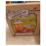 Mason Glass Jar Drink Dispenser Set & Glassware
