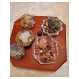 Wooden Turntable w/ Collection of Rocks