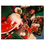 Tote of Christmas Ornaments, Etc