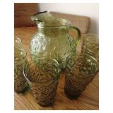Vintage Glass Pitcher & 6 Glasses