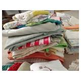 Huge Lot of Kitchen Towels, Aprons, Tablecloths, Etc.