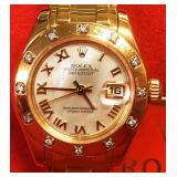 Roles Ladies Gold Diamond Pearlmaster