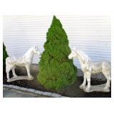 4 foot cement horses