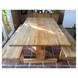 Farmhouse style dining table with bench seats