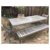 Very large teak patio table
