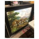 huge leopard cheetahs oil painting signed