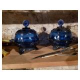Blue Glass ware covered dishes