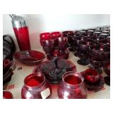 Ruby Red vases, candy dishes