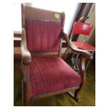 Antique red striped chair