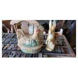 antique rooster and Bunny
