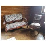Antique Love seat with matching chairand rocker