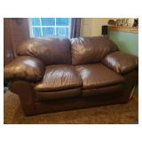 #11 Brown Leather Love seat (has some small scratches) $125.00